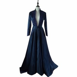 Robes Sexy Éblouissantes Pas Cher-Dark Navy Long Sleeve Robes de soirée Deep V-Neck Dazzling With Beading Long Robes de bal Vestido De Festa Robes d'occasion spéciale