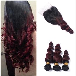 Ombre Human Hair Extensions Closure Canada - Burgundy Ombre Brazilian Loose Wave Human Hair 3 Bundles with 1pc Lace Closure Brazilian Virgin Hair Extensions 99J Ombre Hair Wit Closure
