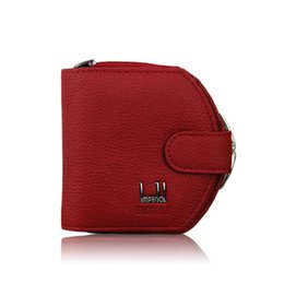 Color Coin NZ - Women Cowhide Wallet Zipper Leather Purse Coin Wallet Card Holder Black Red Color R010