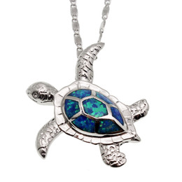 Chinese  Jewelry Sets Sea Turtle Silver Plated Blue Opal Charm Pendants Earrings Hot Sale Unisex Sea Beach Jewelry Hermosa Christmas Gift manufacturers