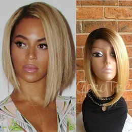 Blonde hair Black roots online shopping - High quality short bob blonde wig dark roots bT ombre synthetic lace front wig with baby hair for black women