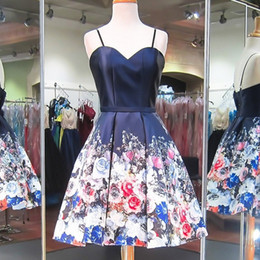 printed satin prom dresses NZ - Floral Print Short Prom Dresses Spaghetti Straps A-Line Knee Length Low Back Navy and Romantic Red Blue Flowers Printed Satin Cocktail Gowns