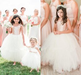 Les Petites Filles S'habillent Pas Cher-Absolument magnifiques Blush rose or paillettes Wedding Party Flower Girls 'robes 2017 manches bouffantes Ball Gown Little Girl robe formelle