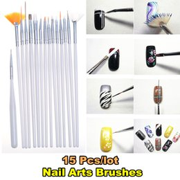 Kit De Détail Des Ongles Pas Cher-Vente en gros - 15pcs / lot Nail Brushes Nail Arts Painting Tools Kit Set Dotting Detailing Pen Brush Bundle ongles Styling Design Tools