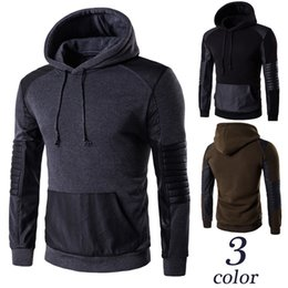 brown tracksuits Australia - New Winter Stylish Casual Men's Hoodie Solid Color Patchwork Pullover Warm Fleece O-neck Sportwear Tracksuit Top