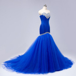 Barato Trombeta De Sereia De Lantejoulas-Classic Mermaid Prom Dress Royal Blue Sequins Cristais Sweetheart sem mangas Corset Lace-up Voltar Trompete Evening Party Vestidos Sweep Train