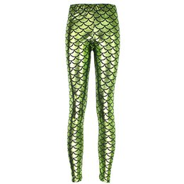 Pantalones De Poliéster Verde Baratos-2017 NUEVA 3001 Apple green Mermaid Scale Dragon Prints Sexy Girl Pencil Yoga Pantalones GYM Fitness Entrenamiento Poliéster Mujeres Leggings Más El Tamaño