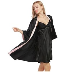 Barato Vestidos De Noite-2017 Moda Patchwork Robe Gown Set Mulheres Nightwear Roupão Home Dress Pijamas Camisa Femmeo Mulheres Silky Dressing Gown Sleep Lounge
