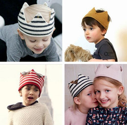 Wholesale 5pcs New Baby Knit Crown Tiara Kids Infant Crochet Headband hat birthday party Photography props Beanie Bonnet
