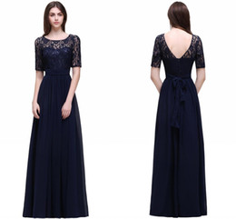 China Real Photo Dark Navy Chiffon A Line Evening Dress with Short Sleeves Scoop Neck Lace Top Long Prom Dresses Elegant Formal Evening Gowns cheap cap sleeve sheer top long dresses suppliers