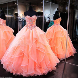 Discount glamorous quinceanera dresses - Glamorous Orange Sweetheart Quinceanera Dresses For Sweet 16 Princess Ball Gowns Ruched Beading Floor Length Long Pagean