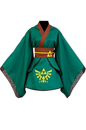 Wholesale Female Link Cosplay Costume Dress Kimono Robe Outfit Suit for Girl Women