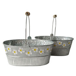 pot handles Canada - Wholesale Metal Planter pot garden Oval Sharp tin box Iron pots flower pot Hanging Planter with wood handle vintage flower