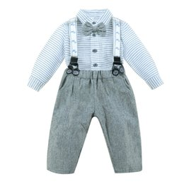 3a55f527a4f71 Baby clothes boy outfit shirt overall bowtie striped gentleman style wedding  flower girls boys kid clothing set party banquet formal clothes