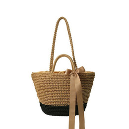 $enCountryForm.capitalKeyWord UK - 2017 Summer Ribbons Bow Straw Bags Handmade Beach Tote Handbag Big Women's Woven Crossbody Bag Casual Travel Shopping Bolsos C61