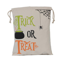 $enCountryForm.capitalKeyWord Canada - 2017 Halloween Canvas Bag Sacks Canvas Cotton Drawstring Personalized Print Children christmas Candy Gifts Bag Party Pumpkin Bag Hot Sale