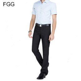 e9539b55f7dd Wholesale- Twill Cotton Flat Office Work Wear Gentleman Black Suit Pants  For Men Slim Business Trousers Groom Wedding Pants Dress Pants