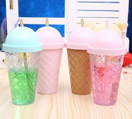 cute plastic straws Canada - Cute plastic cup creative children drink water cup diamond straw cup