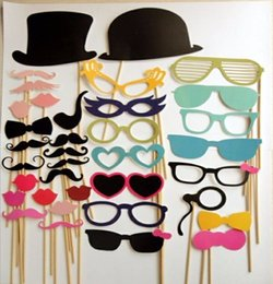 mustache stick wedding NZ - Actionclub Wedding Decoration 58Pcs Lot DIY Mask Photo Booth Props Mustache On A Stick Birthday Event Party Supplies Decoration