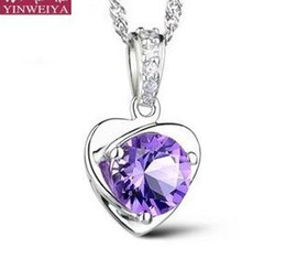 Floating crystals online shopping - 925 Sterling Silver Necklace Austrian Love Charm Luxury Float Locket White Purple Austrian Jewelry Crystal Pendant Necklaces Occident Sale