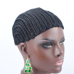 Wholesale Braided Lace Wigs NZ - New Brand Braided Cornrow Wig Cap Easy To Sew In Glueless Hairnet Full Swiss Lace For Wig Making braided wig cap 5Pcs