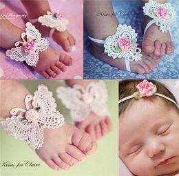 Sandals Infants NZ - 1 Pair Baby Infants Girls Hairband Butterfly Design Barefoot Sandals + Headband Set