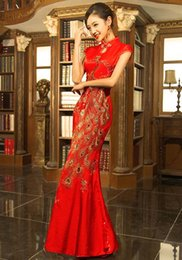 $enCountryForm.capitalKeyWord Canada - Good Price!Real Classical Red Chinese Embroidery cheongsam Dragon Phoenix Image Mermaid wedding dress,Lady party Long Prom evening Dresses