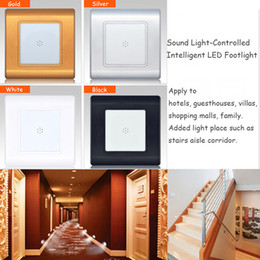 ressessed lights NZ - 0.6W Sound and Light Control Intelligent LED Footlight Wall Plinth Recessed Stairs Steps Asile Night Lights Porch Hallway Corridor Lamp