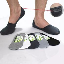 sock slippers men 2018 - Wholesale- Mens Socks Slippers Bamboo fibre Non-slip Silicone Invisible Boat Socks Men Women ankle socks 10pcs=5pairs lo