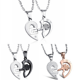 locking heart necklace Canada - Titanium Steel Two Half Heart Puzzle Necklace With Lock Key Design Pendant Free Chains For Couple Fine Jewelry Gift