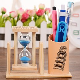 $enCountryForm.capitalKeyWord Canada - Wooden Pen Container With Rotating Timer Fashion Desktop Decor Practical Pens Holder Student Creative Gift Office Supplies 3 6rt F R