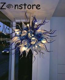 Moda Cobalto Flor Lustre de Cristal Tamanho Pequeno LED CE Mão UL Lustre De Vidro Soprado Lustre Lustre Lustre venda por atacado