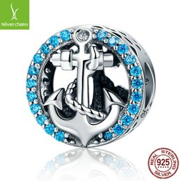 pandora anchor Canada - New Fashion 925 Sterling Silver Sea Journey Anchor Beads Fit Original Pandora Charm Bracelet DIY Jewelry Gift C148