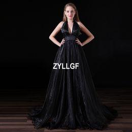 $enCountryForm.capitalKeyWord Canada - 2017 Hot Sales Black Pattern Luxury High Quality V-neck A-line Satin Evening Dress Vestido de Festa Western Evening Party