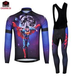 China Chuangdi 2018 Men superman long sleeve cycling jersey set  biking Cycling Clothing  Ciclismo Clothing autumn winter supplier biking clothing suppliers