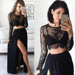 Habille Deux Fentes Latérales Pas Cher-Sexy Black Two Pieces Robes de bal 2017 Sheer Side Split Long Sleeves Robes de soirée Lace Formal Women Special Occasion Dress Formal Party