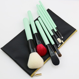 Lighted horse online shopping - Odessy Natural Makeup Brushes Goat Horse Hair Professional Beauty Essentials Green Make Up Brush Set with Bag High Quality