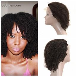 Natural Kinky Human Hair Canada - Glueless Human Hair Lace Wigs For Black Women 100% Natural Human Hair Virgin Peruvian Kinky Curly Full Lace Wigs G-EASY