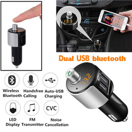 Wholesale Mini Car Bluetooth Kit FM Transmitters Wireless Radio Adapters Fast USB Chargers MP3 Player Hands free Calling For cell Phone iphone Samsung
