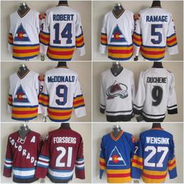 2835afd23e5 14 rene robert mens colorado avalanche ccm hockey jersey 27 john wensink 21  ...