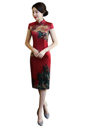 cheongsam dress china UK - Shanghai Story China Qipao Knee Length Chinese Dress chinese style dress Chinese Oriental dress Vintage cheongsam 2 Style