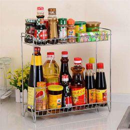 $enCountryForm.capitalKeyWord NZ - Double Layers Rack Metal Kitchen Organizer Seasoning Jar Storage Shelf For Supplies Accessories LZ0321
