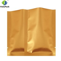 "Chinese  Brand new 5x8cm (2x3"") Gold color Heat seal aluminum foil flat pouch open top packing Storage bags for food coffee bean manufacturers"