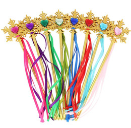 Fairy Princess Toys UK - Fairy Gold snowflake ribbons wand streamers XMAS wedding party Cos Princess gem sticks magic wands confetti kids birthday favors