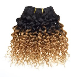Chinese  Honey Blond Brazilian Virgin Hair Kinky Curly Weave Ombre Blond Brazilian Hair T1b 27# 4 Bundles Curly Human Hair Products manufacturers