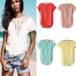Discount white sheer blouse wholesale - Women's Clothing 2019 summer basic tank tops style for women Tees Tanks Camis womens tank top shirts Chiffon sleeve