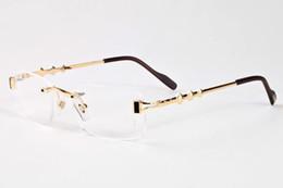 titanium eyewear 2019 - France Design Women Frameless Glasses Alloy Metal Buffalo Sunglasses Fashion Brand Luxury Glasses Eyewear With Original