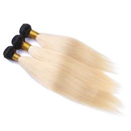 virgin hair extensions dark blonde 2019 - Brazilian #1B Blonde Ombre Hair Weave Silk Straight Virgin Hair Bundles Top Quality Dark Root Blonde Human Hair Extensio