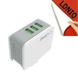 ldnio charger Australia - Wholesale LDNIO 5V 3.4A 3 Ports Rapid Wall Charger with foldable US power socket Auto Detect the Required Current for IOS and Andriod