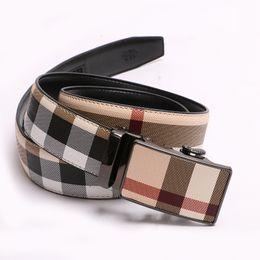 2018 NEW Men High Quality Luxury Mens Belts Automatic Buckle Genuine Leather Belt For Men Striped Designer Belts from v cut bra manufacturers